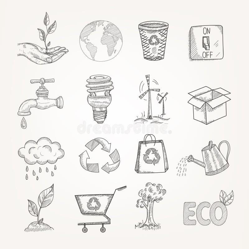 Klotterekologiuppsättning royaltyfri illustrationer