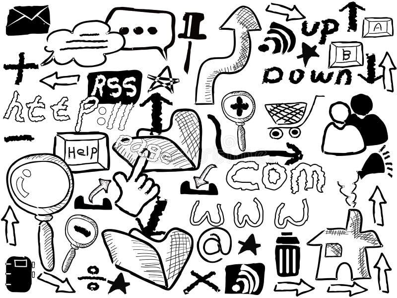 klotterelementrengöringsduk stock illustrationer