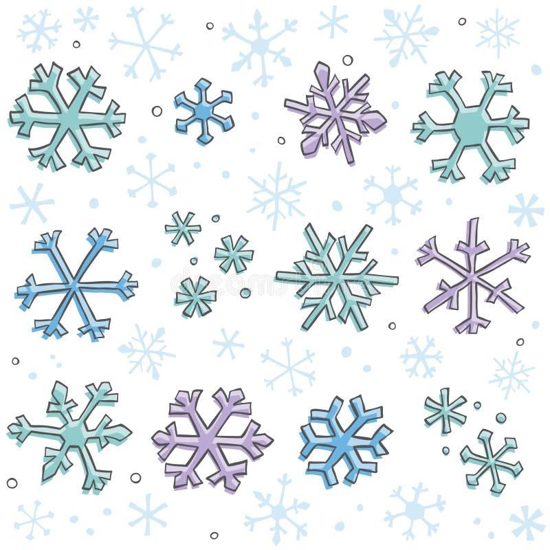 klotterelementsnowflake vektor illustrationer