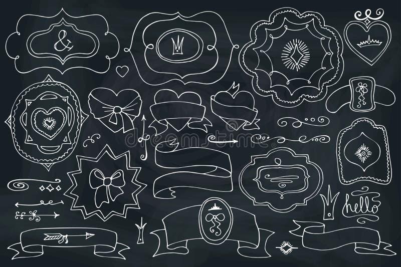 Klotteretiketter, emblem, dekorbeståndsdel på den svart tavlan stock illustrationer