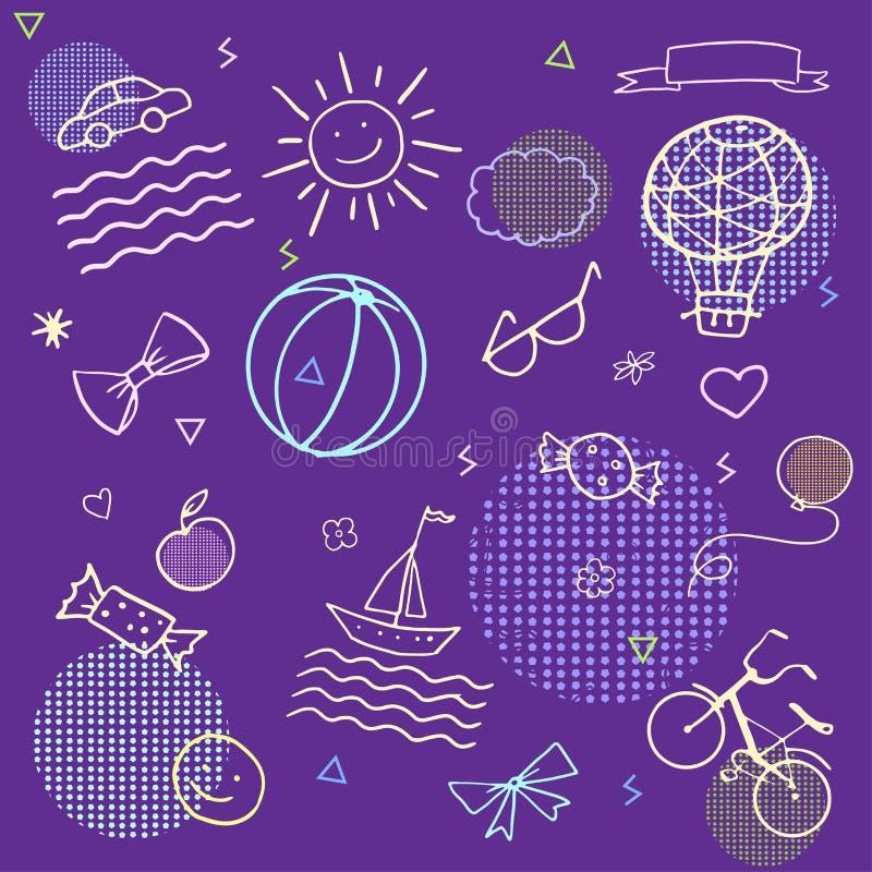 Klotterfödelsedagleksaker stock illustrationer