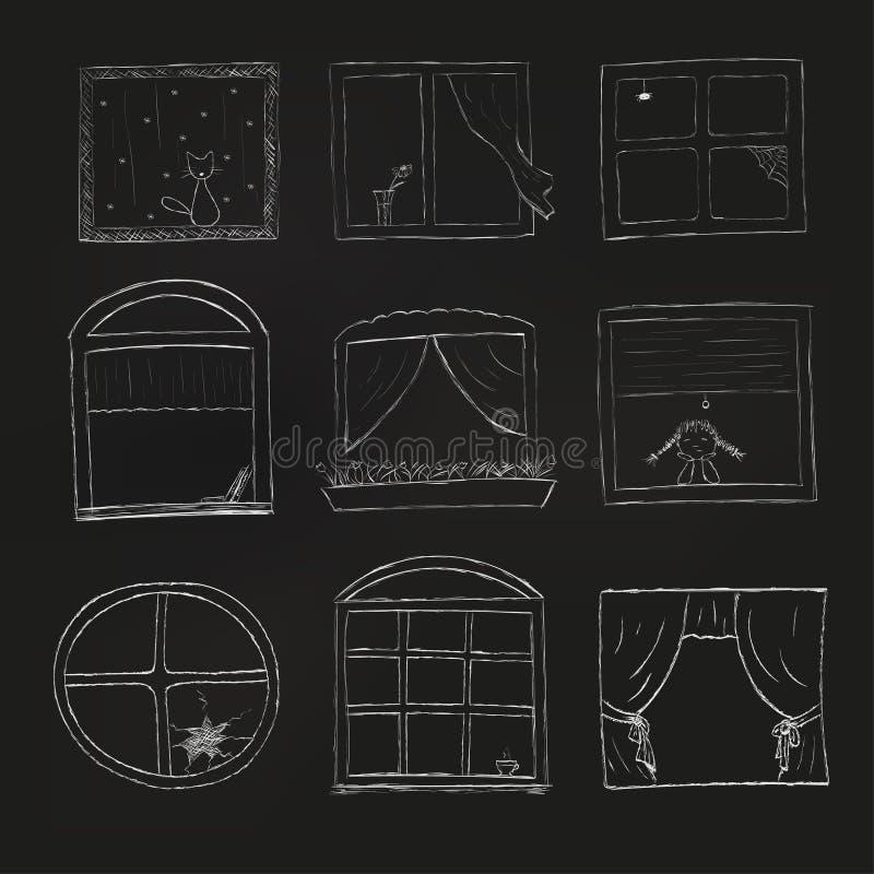 Klotterfönsteruppsättning som isoleras på svart bakgrund illustratören för illustrationen för handen för borstekol gör teckningen royaltyfri illustrationer