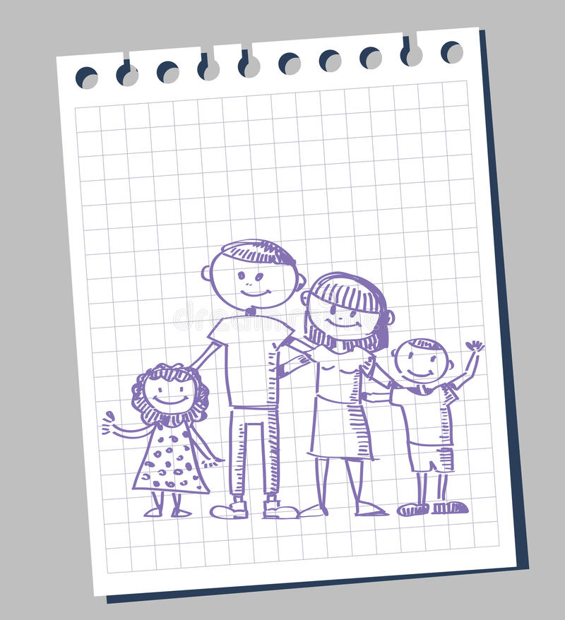 klotterfamilj stock illustrationer