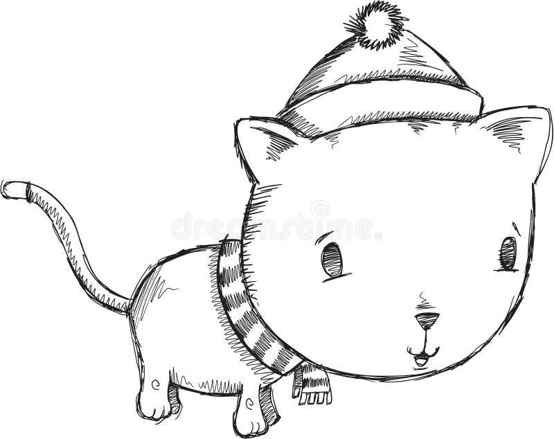 Klotterferie Cat Vector royaltyfri illustrationer