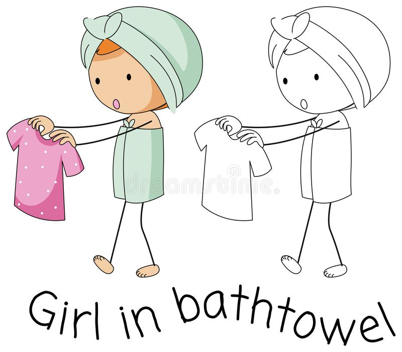 Klotterflicka i bathtowel royaltyfri illustrationer