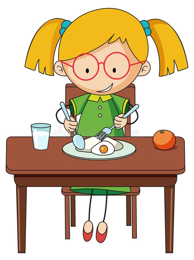 Klotterflickacharcter som äter frukosten stock illustrationer