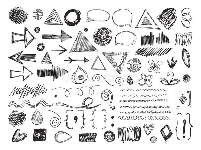 Klotterformer Rita pilar, handen drog texturer och anförandebubblor Skissa gränser och den fläckar isolerade vektoruppsättningen vektor illustrationer