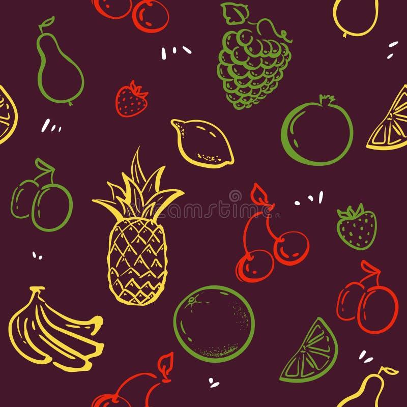 Klotterfrukter som isoleras på sömlös modellvektor för vit svart tavla Sund näring skissar illustrationen ananas jordgubbar royaltyfri illustrationer