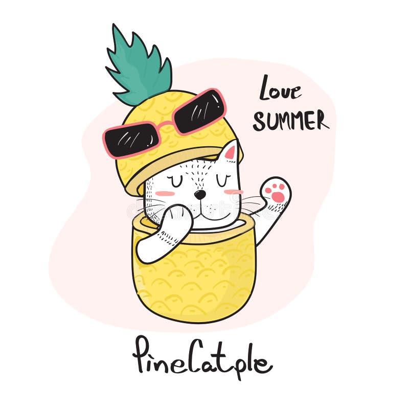 klotterhand som drar den gulliga katten som kikar genom hela en ananas, pinecatple arkivfoto