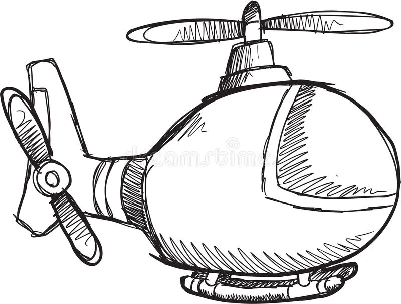 Klotterhelikoptervektor stock illustrationer