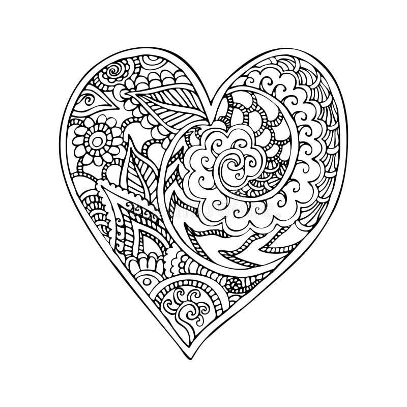 Klotterhjärta med zentangle smyckar vektorn stock illustrationer