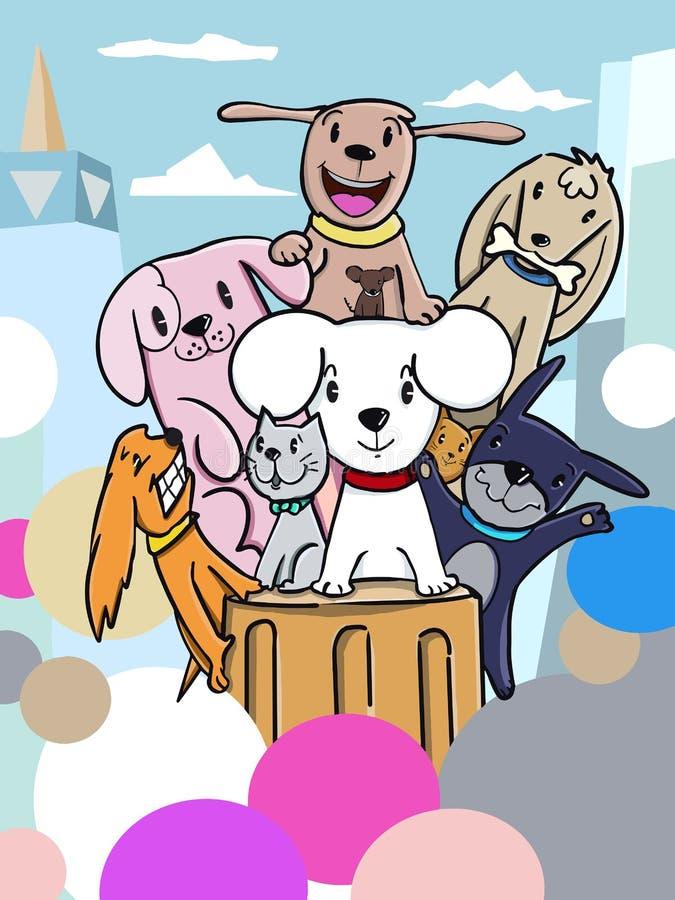 Klotterhundkapplöpninggrupp 01 vektor illustrationer