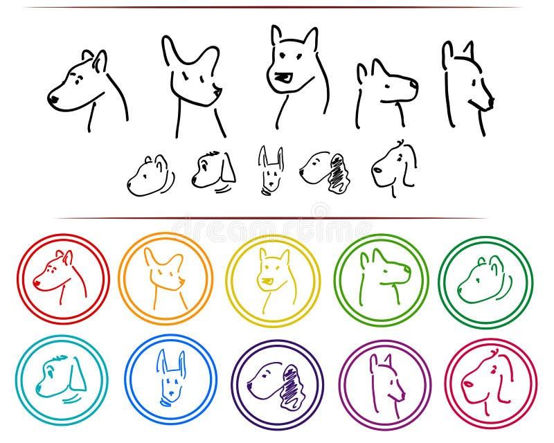 Klotterhundlogo royaltyfri illustrationer