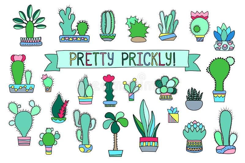 Klotterkaktus- och suckulentclipart Inlagda kaktus- och suckulentsymboler stock illustrationer