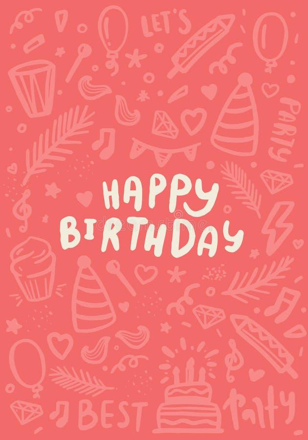 Klotterkort för lycklig födelsedag med kakan, ballong Affischgarnering i utdragen stil för hand Modern årsdaglyckönskan vektor illustrationer