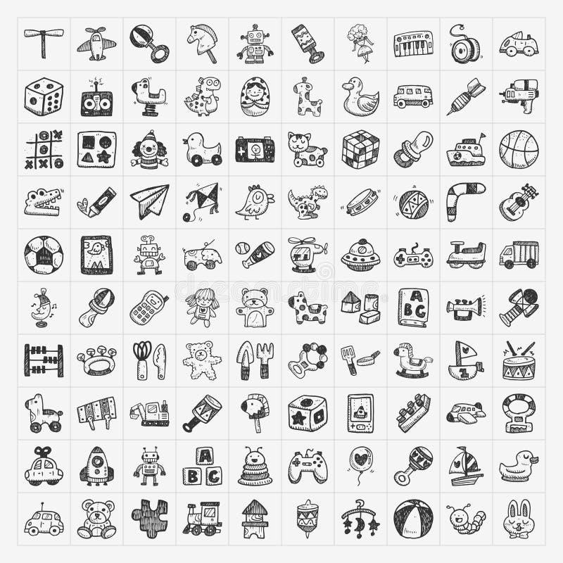 Klotterleksaksymboler royaltyfri illustrationer