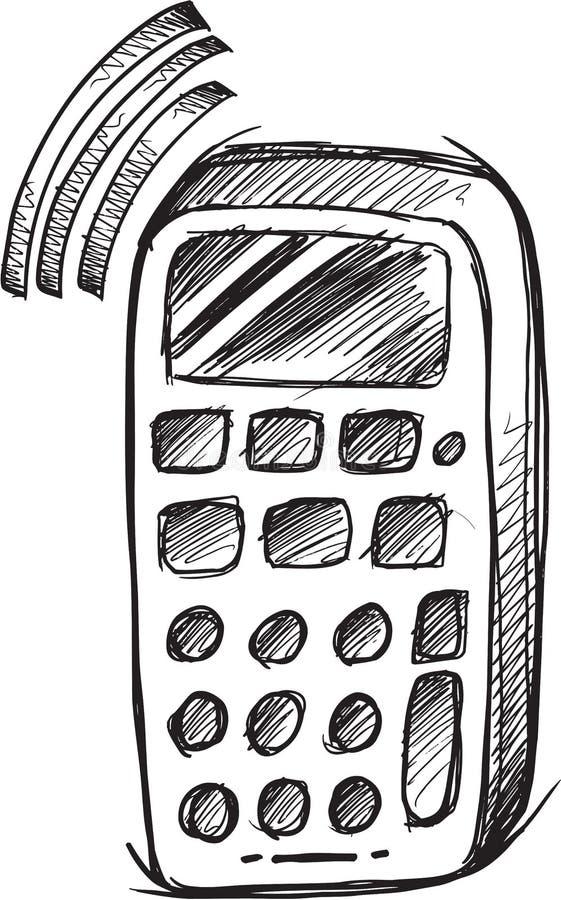 Klottermobiltelefonvektor stock illustrationer