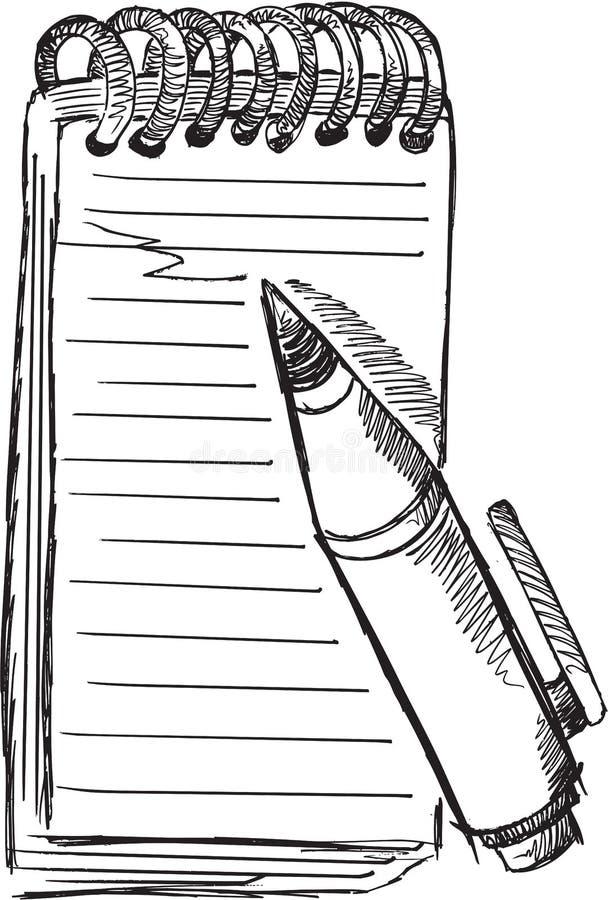 KlotterNotepad Pen Vector stock illustrationer
