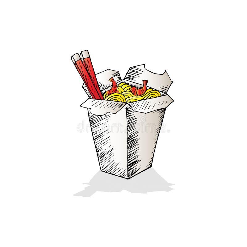 Klotternudel i ask stock illustrationer