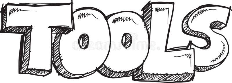 Klotterordet bearbetar vektorn stock illustrationer