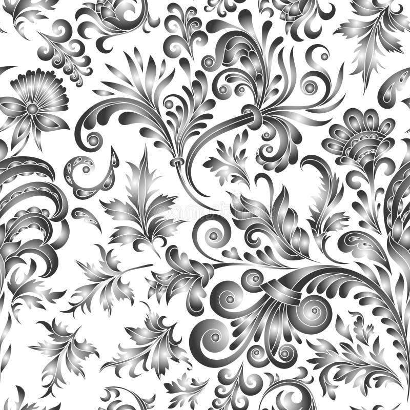 Klotterpaisley sömlös modell Blom- beståndsdelar för lutning på vit bakgrund Gzhel Denna är mappen av formatet EPS10 Två färgar royaltyfri illustrationer