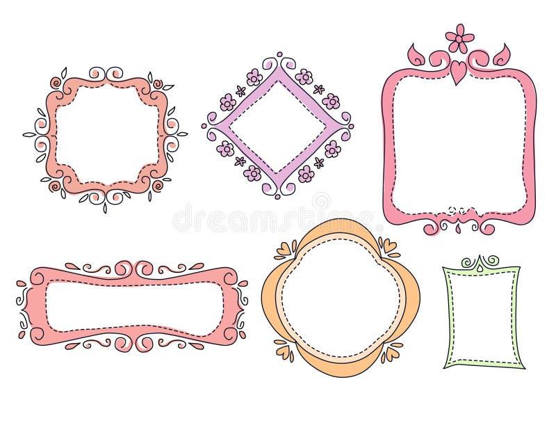 Klotterramar vektor illustrationer