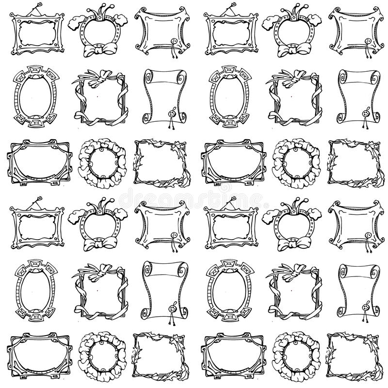 Klotterramar seamless modell vektor illustrationer