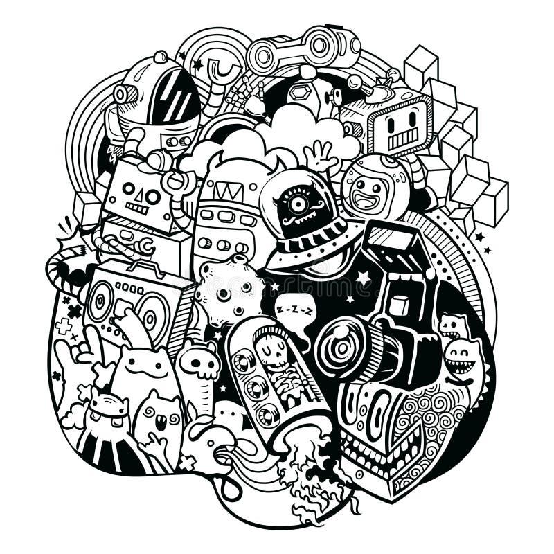 Klotterrobotar, klotterrobotbeståndsdel, royaltyfri illustrationer