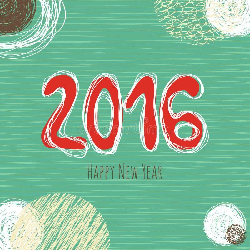 Klottersamling för nytt år, hand drog beståndsdelar för nytt år stock illustrationer