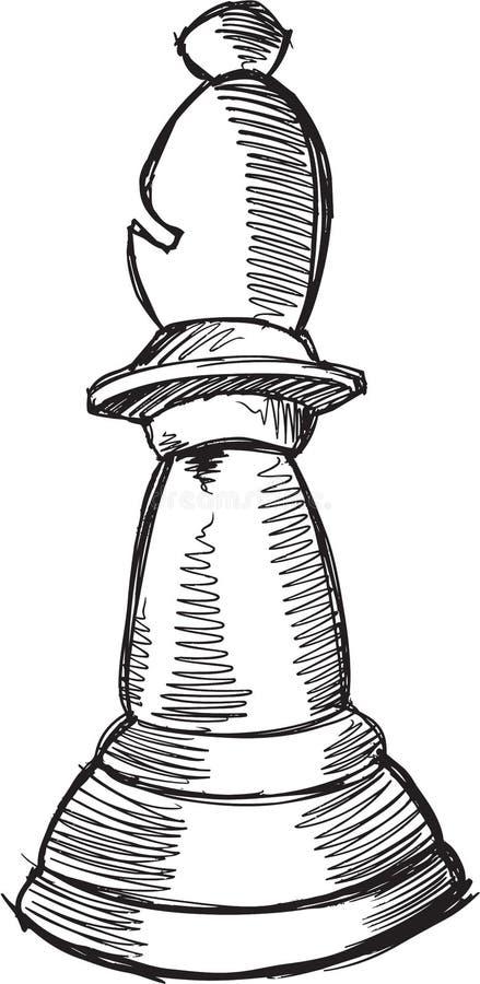 Klotterschackbiskop Vector stock illustrationer