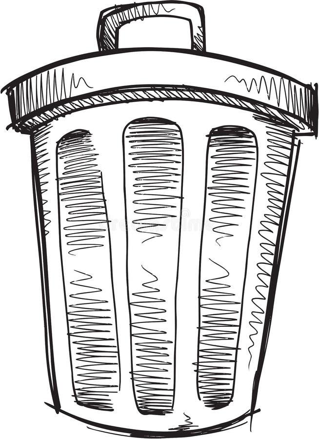 Klottersoptunnavektor stock illustrationer