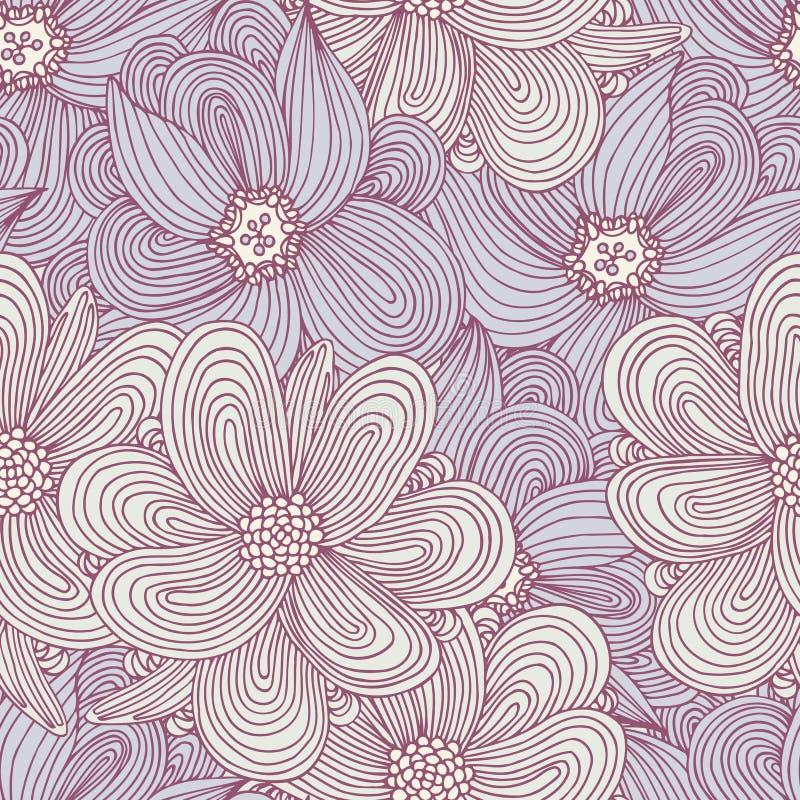 Klotterstil blommar den sömlösa modellen Blom- textilbakgrund Trendigt klottertryck royaltyfri illustrationer