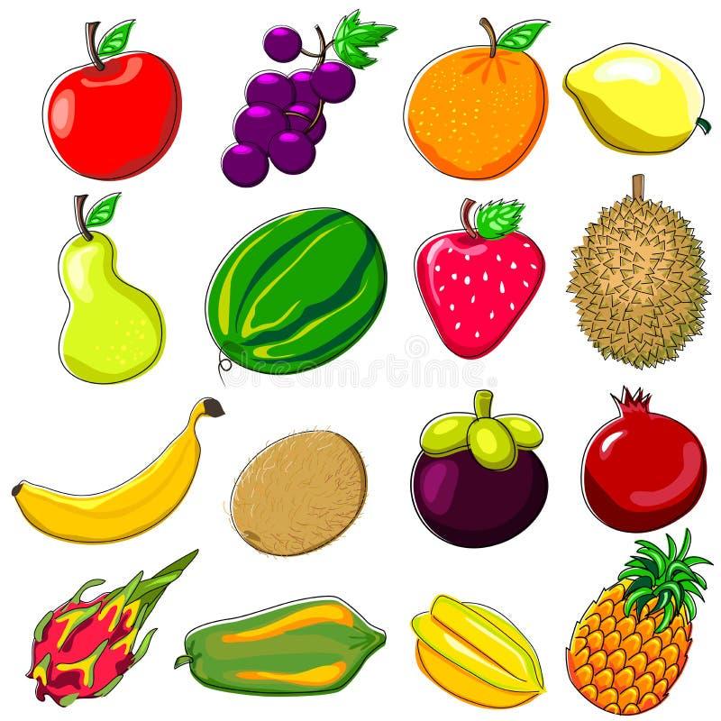 Klotterstil för nya frukter vektor illustrationer