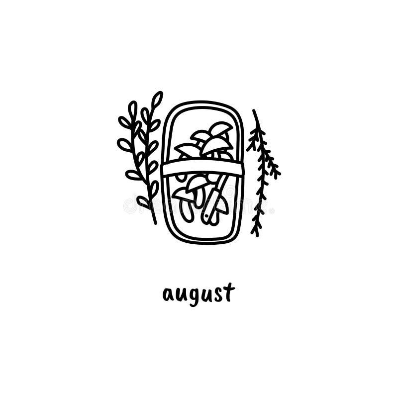 Klotterstilbusket av champinjoner Utdragen illustration för hand för månatlig vägg- eller skrivbordkalender j?rtecknet royaltyfri illustrationer