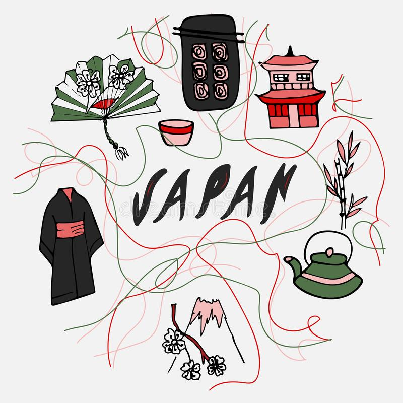 Klotterstilillustration med Japan symboler vektor illustrationer