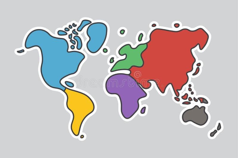 Klotterstilvärldskarta Se som barnhantverkmålning stock illustrationer
