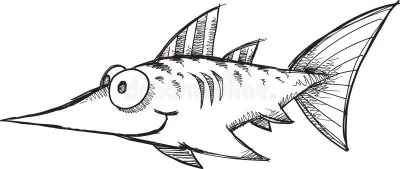 Klottersvärdfiskvektor royaltyfri illustrationer