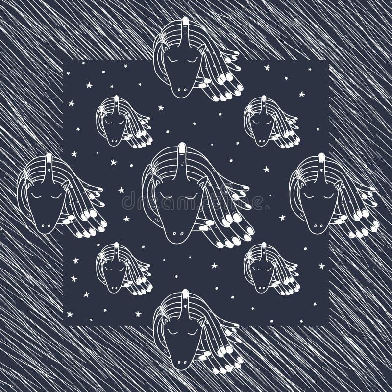 Klottertatueringenhörning med stjärnakortet vektor illustrationer
