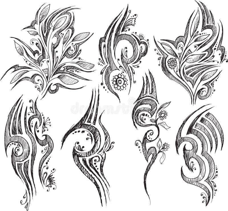 Klottertatueringsymboler isolerade vektorn royaltyfri illustrationer