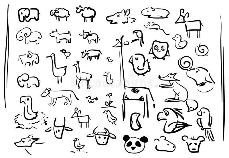 Klottertecken - djursymboler vektor illustrationer