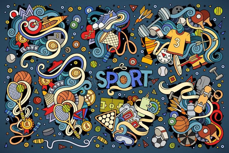 Klottertecknad filmuppsättning av sportdesigner vektor illustrationer