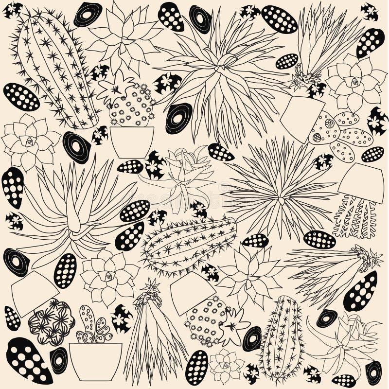 Klottertecknad filmuppsättningen av kaktuns skissar samlingen som isoleras på whit stock illustrationer