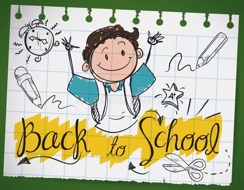 Klotterteckning i ett anteckningsbokpapper för tillbaka till skolan, vektorillustration vektor illustrationer