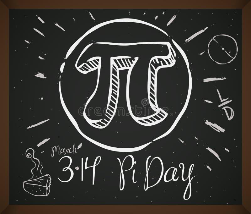 Klotterteckning med symbol, pajen och datumet för pidagen, vektorillustration stock illustrationer