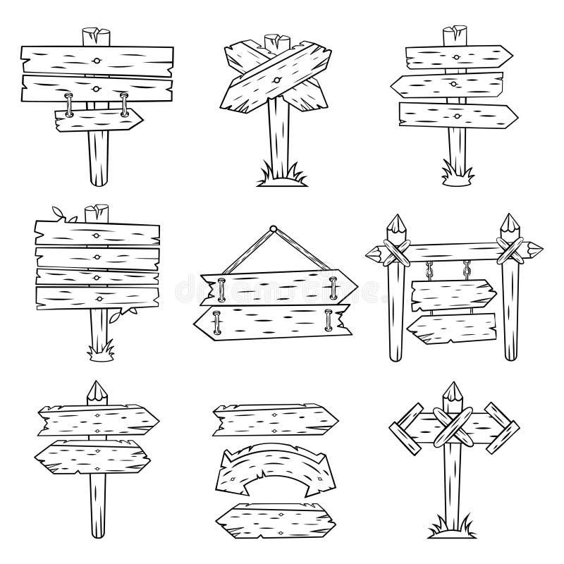 Klotterträtecken Handen drog trävägvisaren och pilar skissar Isolerad Retro riktning för visning för gatavägmärkestolpe vektor illustrationer