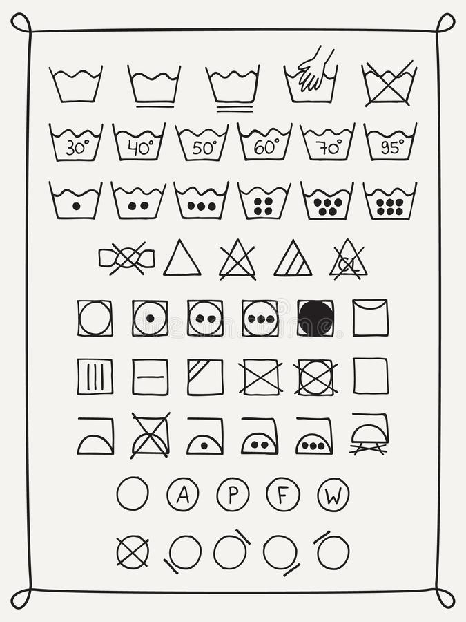 Klottertvätterisymboler vektor illustrationer