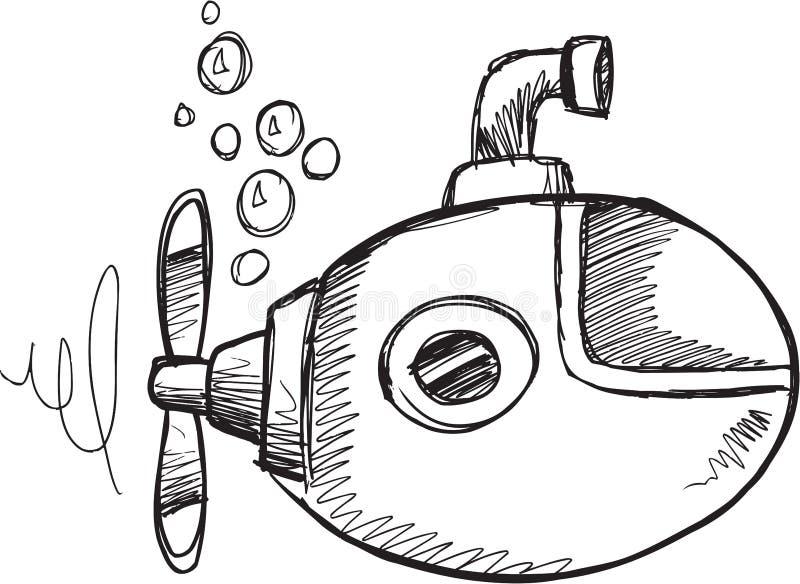 Klotterubåtvektor stock illustrationer