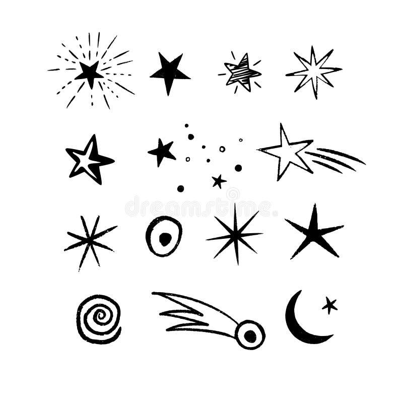 Klotterutrymmestjärnor ställde in med kosmiska objekt royaltyfri illustrationer