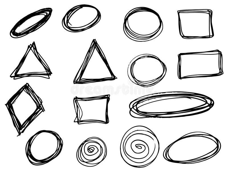 Klottervektorcirklar, trianglar och rektanglar Hand dragen uppsättning stock illustrationer