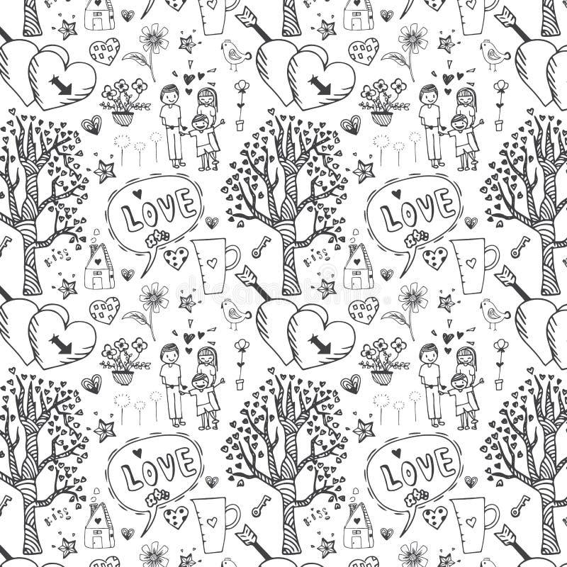 Klottervektorfrihandsteckning av förälskelsemodellen som är sömlös på vit bakgrund royaltyfri illustrationer